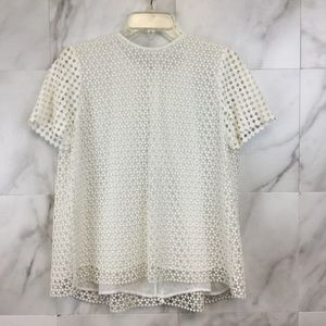 Tory Burch Crescent Guipture Top - size 8